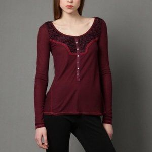 Free People Burgundy Diego Thermal Henley